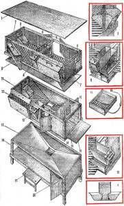 двухъярусные клетки для кроликов конструкции И.Н. Михайлова